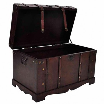 Large Vintage Wooden Treasure Storage Chest Home Furniture Trunk Box Table Brown