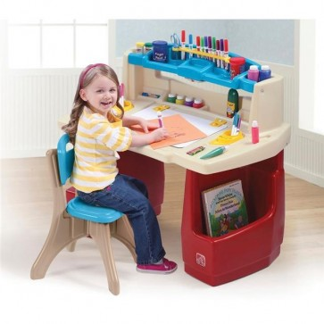 Kids Step 2 Activity Art Drawing Table Desk & Chair Set Childrens Play Toy Light