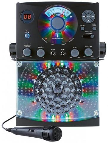Singing Machine Bluetooth Karaoke System with LED Disco Lights Microphone Black