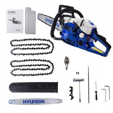 Hyundai PROFESSIONAL PETROL CHAINSAW HYC6222 22-Inch 62cc 2-Stroke BLUE