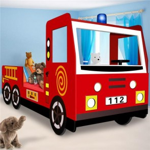 Child Fire Engine Truck Single Kids Bed Frame Toddler Wood Bedroom Furniture Red