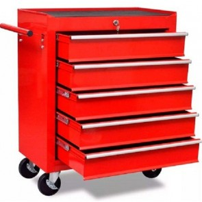 vidaXL WORKSHOP TOOL TROLLEY 690x330x772mm 5 Drawers, Scratch-Resistant RED