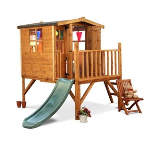 Childrens Wooden Outdoor Playhouse with Slide Wendy House Raised Tower Kids Fun