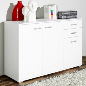 CS Schmal WOODEN SIDEBOARD CABINET 35x107x75cm 3-Doors 2-Drawers Cupboard WHITE